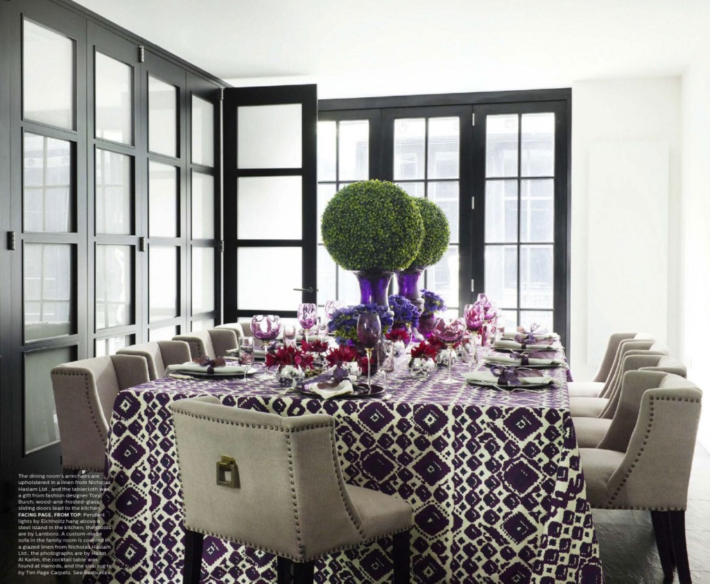 Purple dining room - Linen Chairs And Purple Print Tablecloth