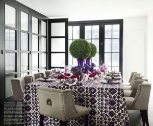 Linen Chairs and Purple Print Tablecloth