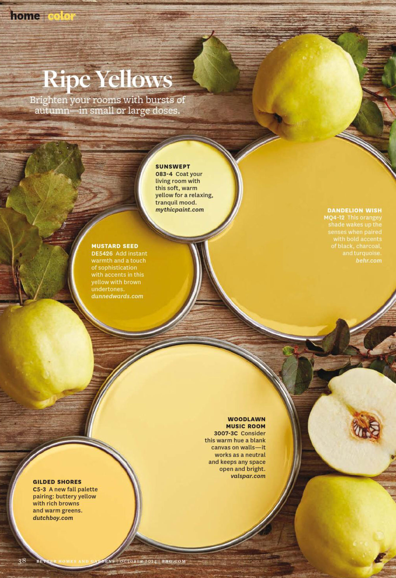 better homes and gardens paint. ripe yellows paint palette better homes and gardens 2