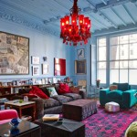 Pink, Blue, Teal and Red Living Room