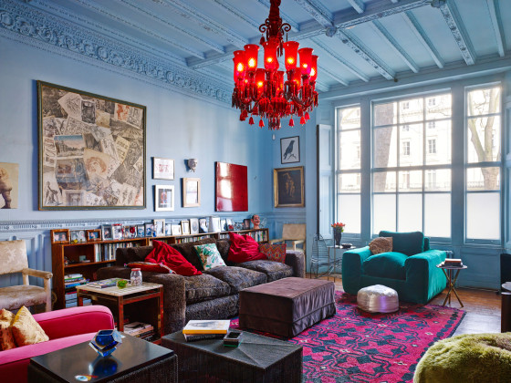 Great Pink, Blue, Teal And Red Living Room Part 20