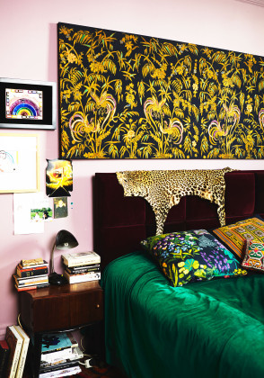 Exotic Green and Yellow Bedroom