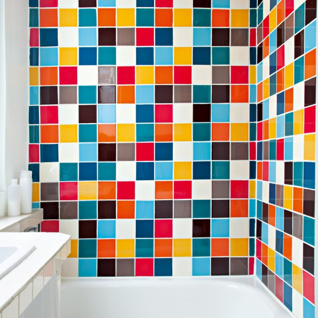 colorful tiled bathroom