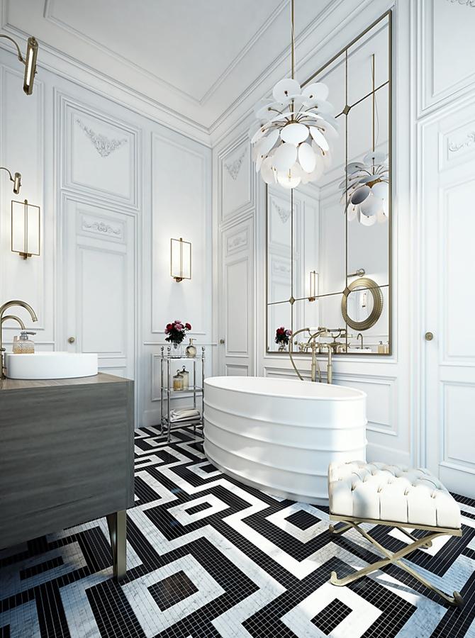 Black and White Bathroom by Ando Studio