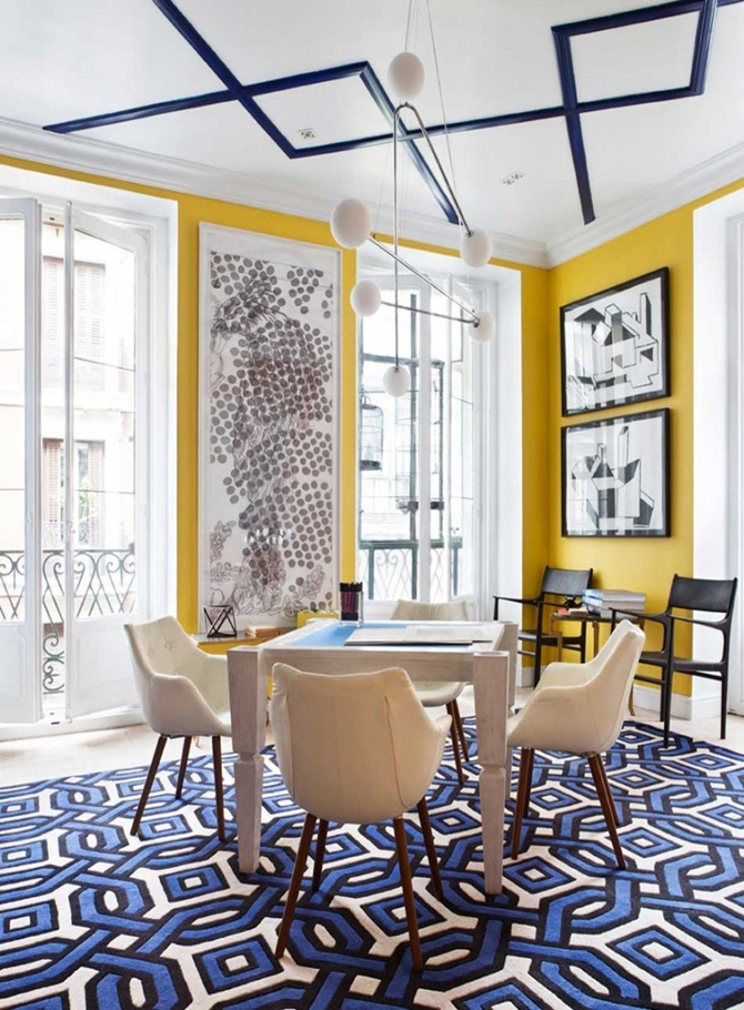 Geometric Form In Blue And Yellow Interiors By Color