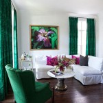 Chic Living Room in Green and White