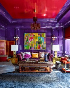 Purple and Red Library by Steven Gambrel