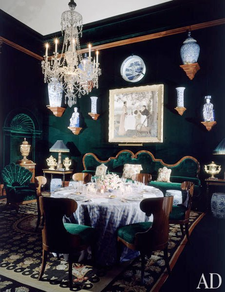 Dining with Green Velvet Walls