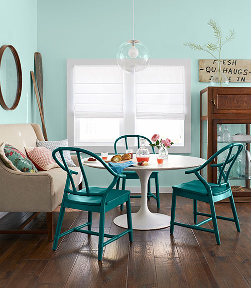teal painted dining chairs