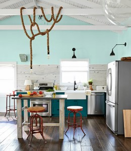 teal colored country kitchen