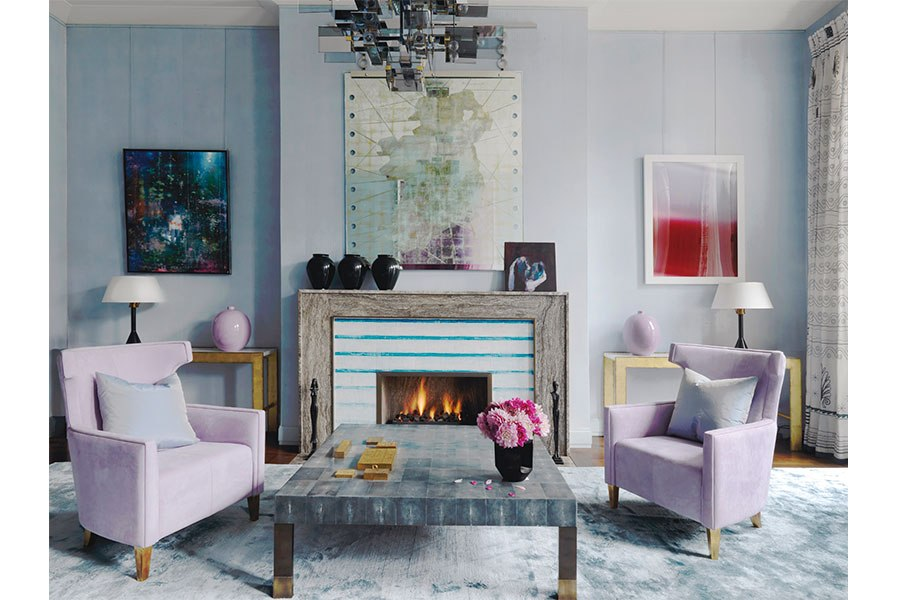 Contemporary living room with modern art and soft pastel colors The