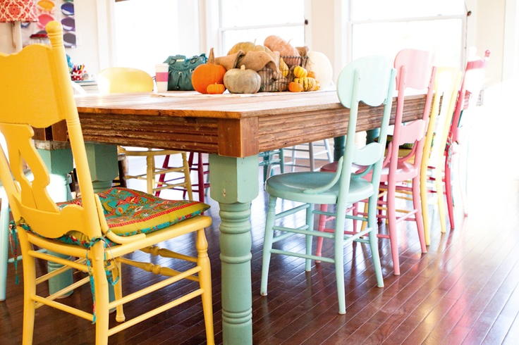 Pastel Painted Dining Chairs - Interiors By Color