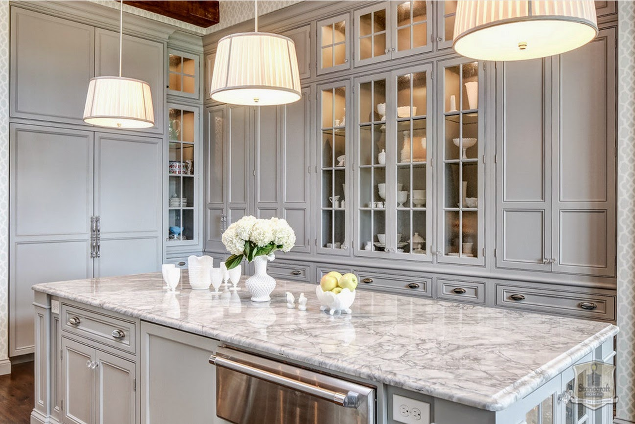 Traditional Kitchen In Soft Gray Interiors By Color - Soft gray kitchen cabinets