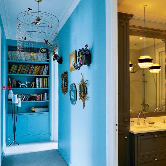Whimsical blue hallway.