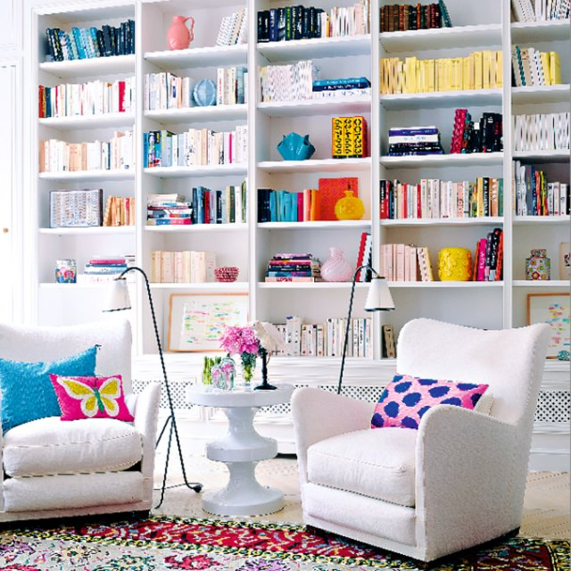 White Library with Pops of Color