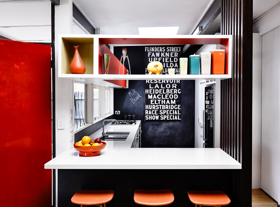 Austin modern red black kitchen 1