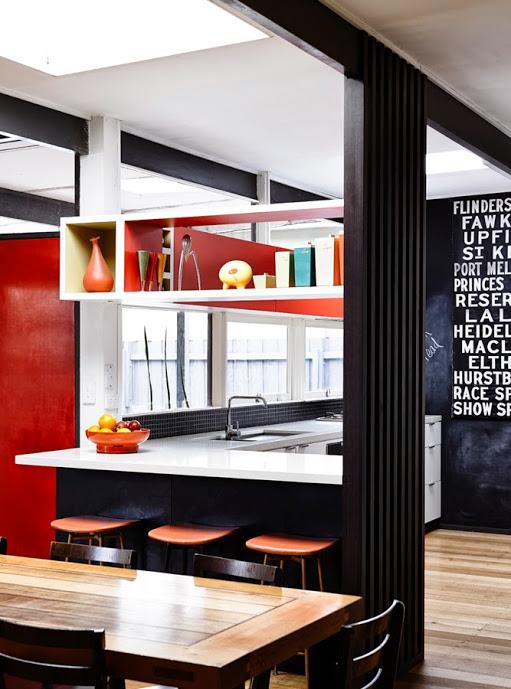 Austin modern red black kitchen 2