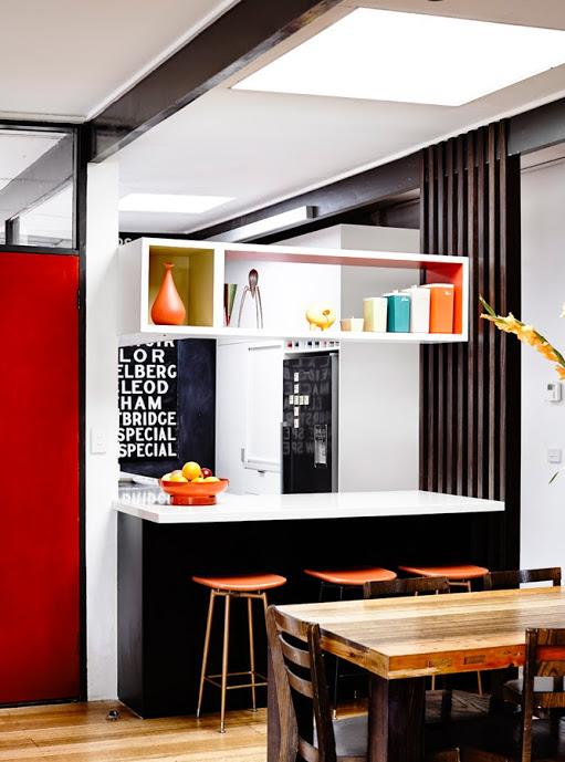 Austin modern red black kitchen