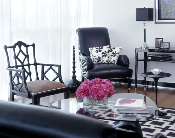 Black And White And Pink Living Room black and white glam living room - interiorscolor