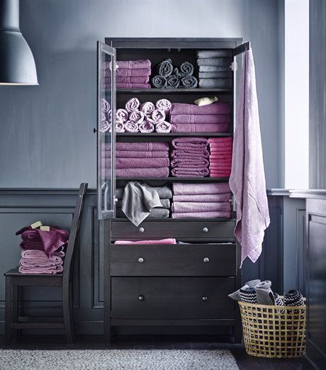 purple and gray towel storage. Modern Bathroom in Gray  Pink and Purple   Interiors By Color