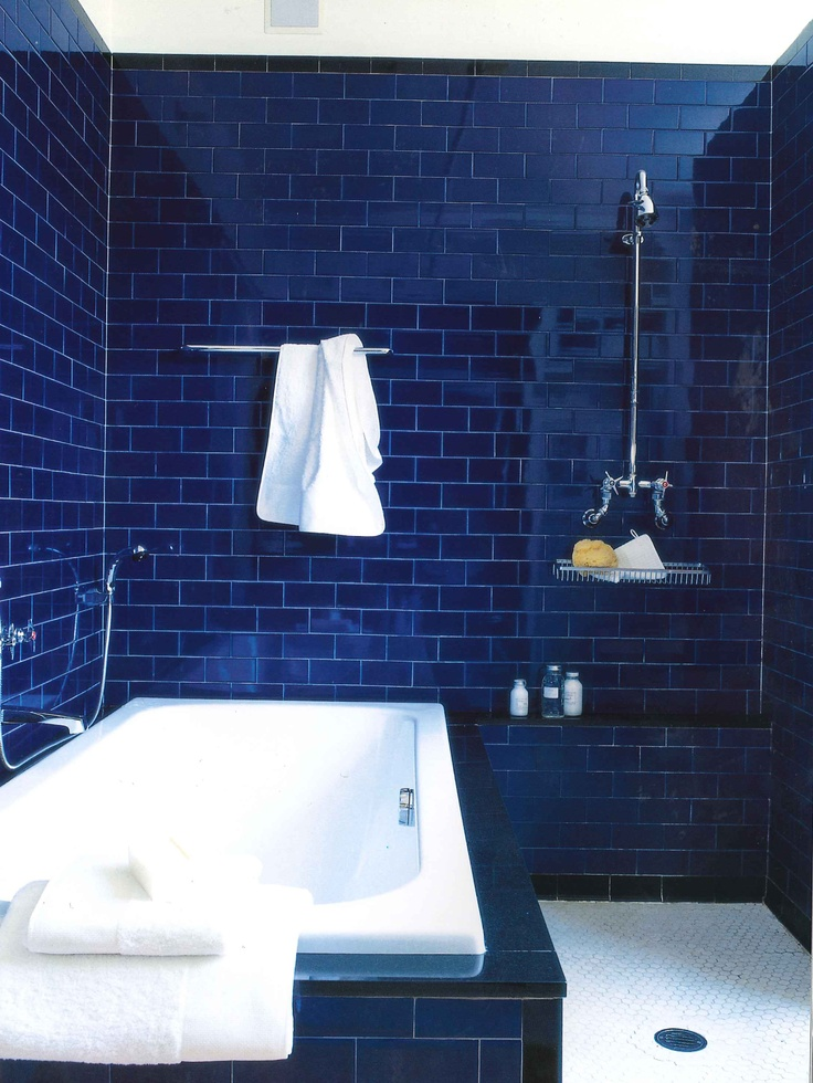 Deep dark blue bathroom interiors by color for Dark blue bathroom tiles