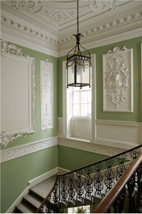 Hall and Stairs in Farrow & Ball Saxon Green and Clunch