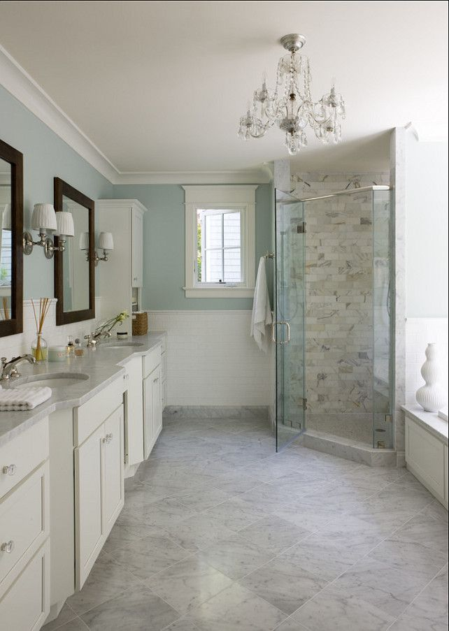 Light Blue and Marble Bathroom - Interiors By Color
