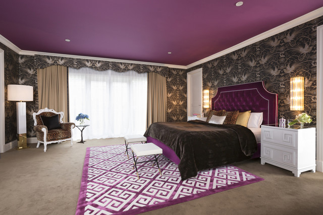 bedrooms pictures modern glam purple and leopard bedroom interiors by color 10792
