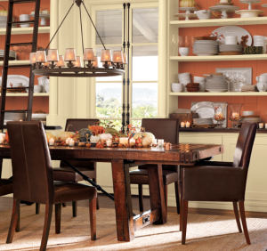 dining-room-in ivory and orange