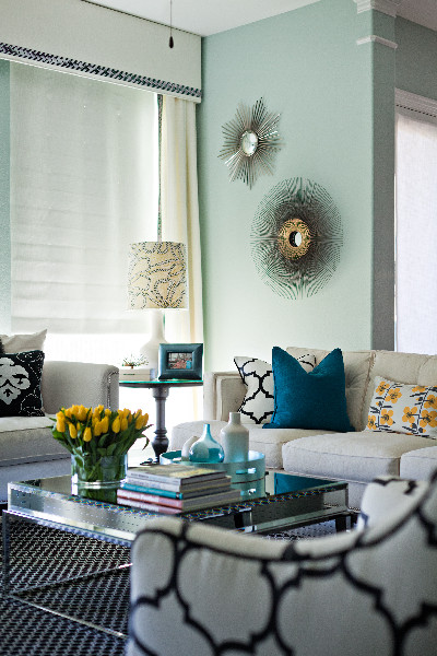 Designer Home Interiors: Teal And Yellow Accents