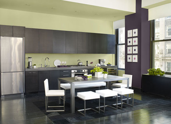 Cool contemporary kitchen in benjamin moore 39 s chambourd for Cool kitchen paint colors