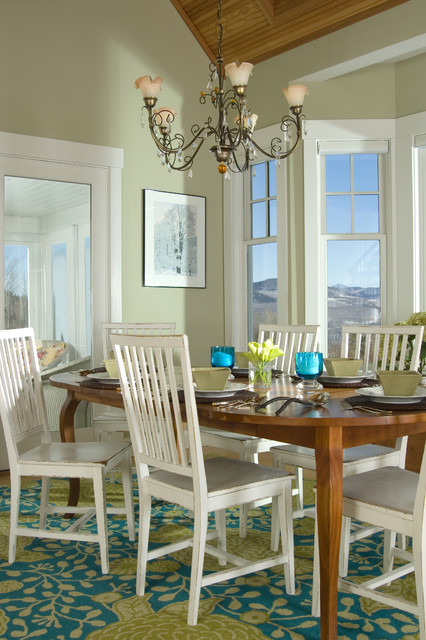 Green dining room with white chairs interiors by color - Pale green dining room ...