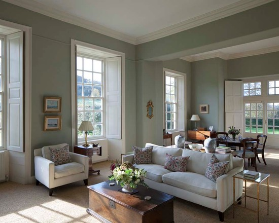 Ancestral drawing room interiors by color Farrow and ball skimming stone living room
