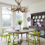 Apple Green Chairs, Antler Chandelier and Antiques