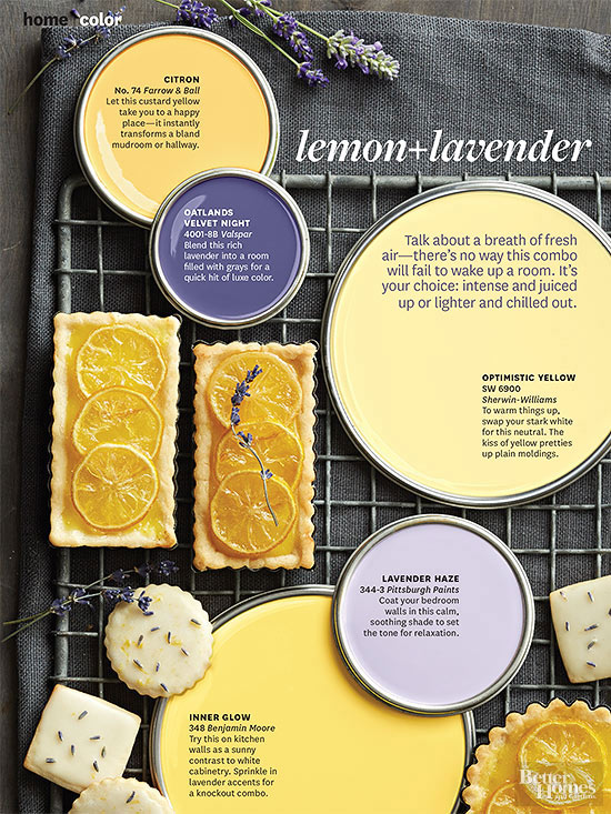 better homes and gardens february 2014 paint palette in lemon lavender. beautiful ideas. Home Design Ideas
