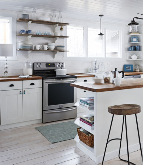 Small White Kitchen With Wooden Trims