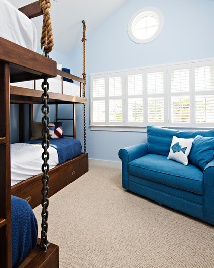 Blue walls bunk beds nautical bedroom interiors by color for Benjamin moore breath of fresh air