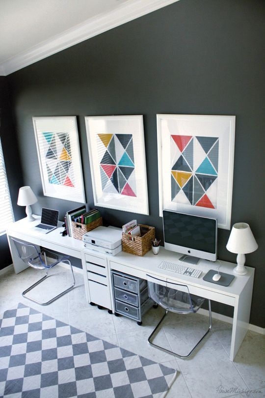 Home Office with Charcoal Walls