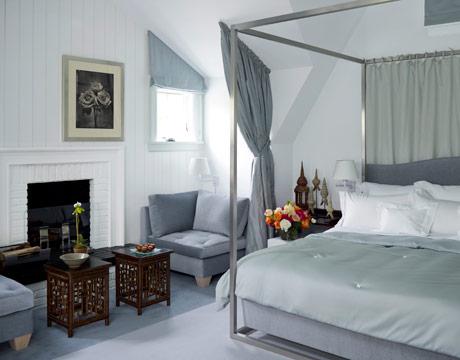 Modern Master Bedroom in Patriotic White