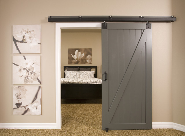 Sliding Barn door in Gray to the Bedroom