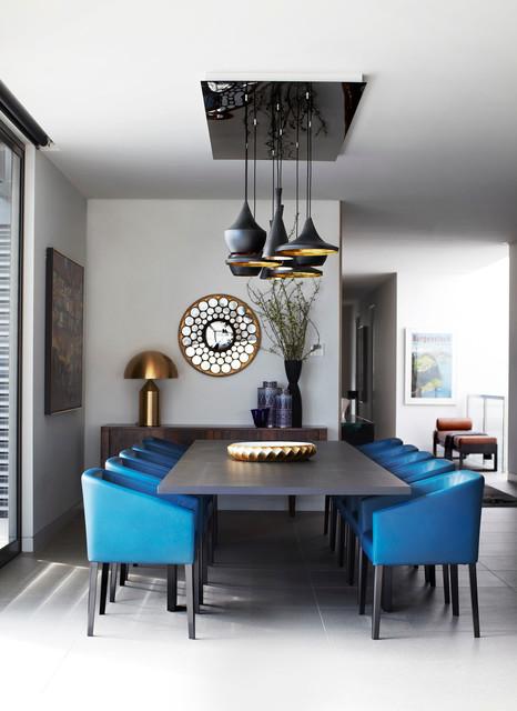 Blue Leather Minotti Chairs