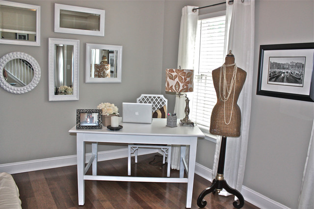 Chic, Girly Office in Cool Neutral Gray