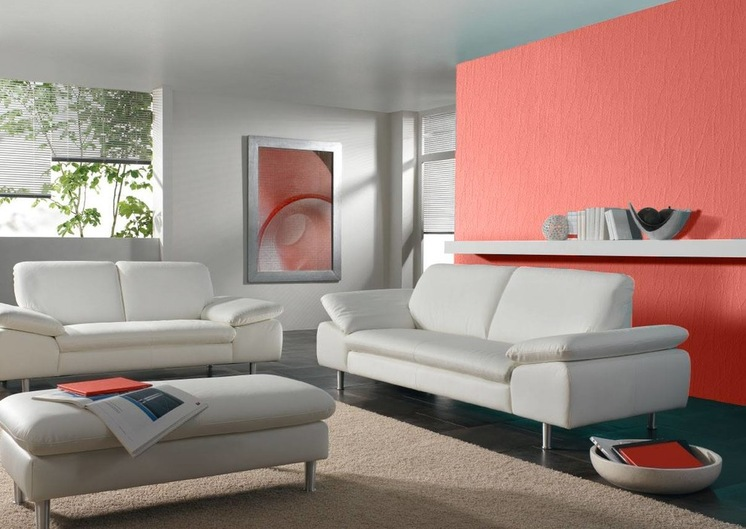 Accent wall in coral interiors by color for Coral walls living room