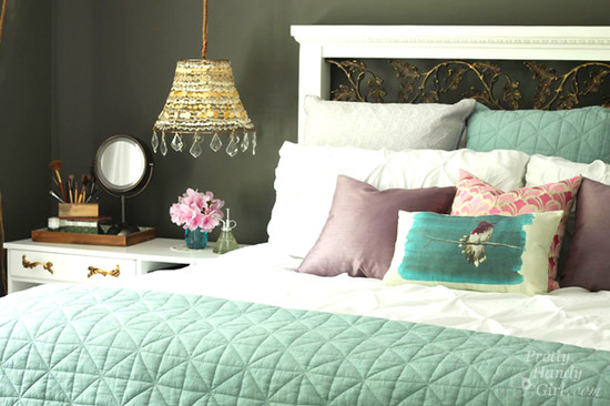 Moody master bedroom makeover interiors by color for Dramatic beds