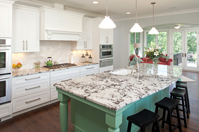 Mint green white and light gray traditional kitchen interiors by