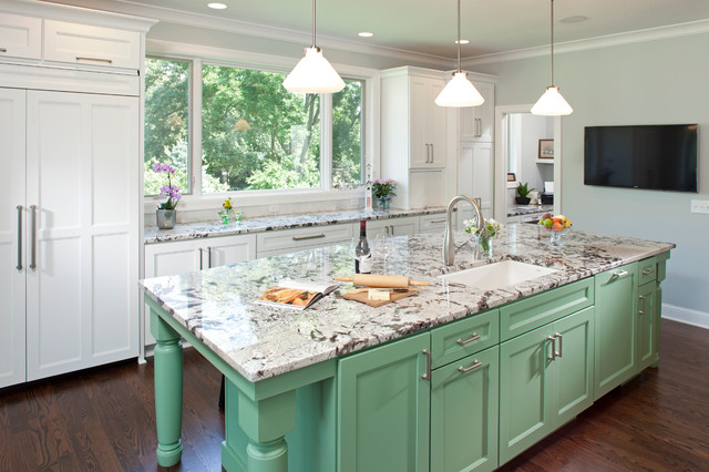White And Grey Traditional Kitchen mint green, white and light gray traditional kitchen - interiors