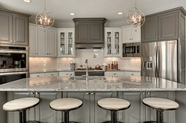 Transitional White Kitchen transitional gray and white kitchen - interiorscolor