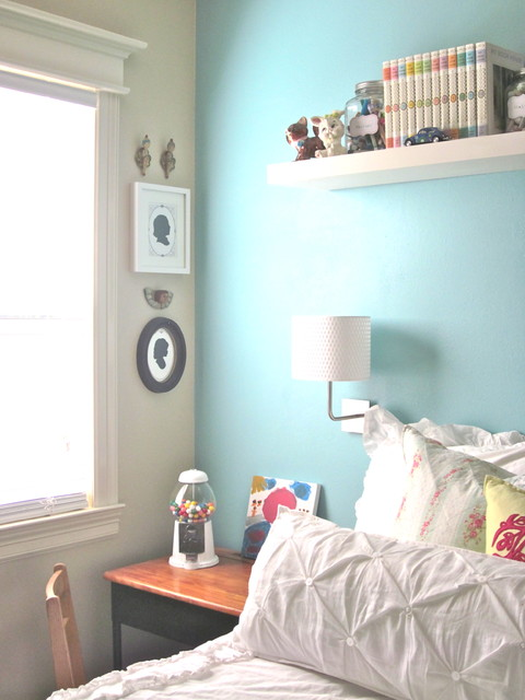 girls bedroom with light blue feature wall interiors by color