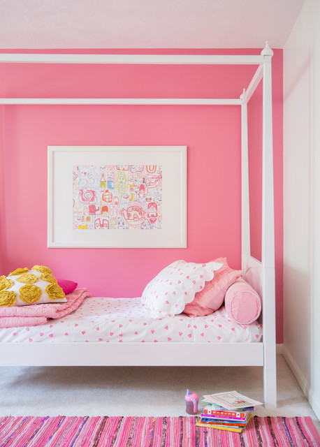 Girls Bedroom Pink Feature Wall, Bedding and Rug