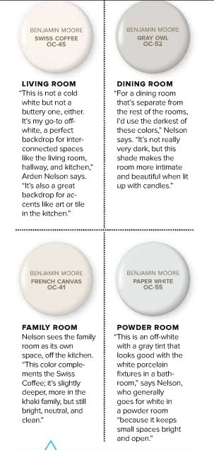 4 white grey neutral paint colors from benjamin moore for Neutral off white paint